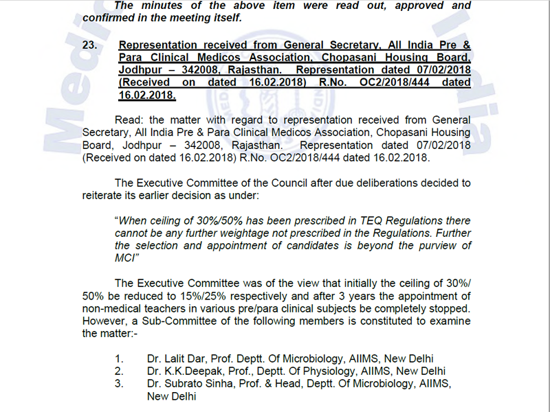 MCI executive committee decision to stop the appointment of non medical teachers after 3 years